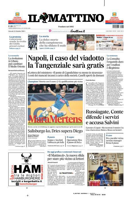 Le Prime Pagine Dei Giornali Di Oggi 24 10 2019 Calcio Napoli 1926