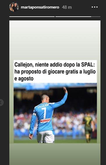 Napoli-Callejon, la conferma della moglie